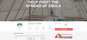 Ebola treatment tent in Liberia with Carebnb